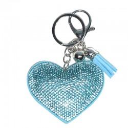 llavero corazón brillantes azul