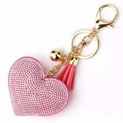 llavero corazón brillantes rosa