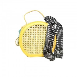 bolso de rafia modelo Pisa amarillo pañuelo