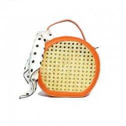 bolso de rafia modelo Pisa naranja pañuelo