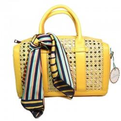 Bolso de rafia modelo Florencia amarillo pañuelo