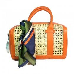 Bolso de rafia modelo Florencia naranja pañuelo