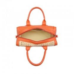 Bolso de rafia modelo Florencia naranja por dentro