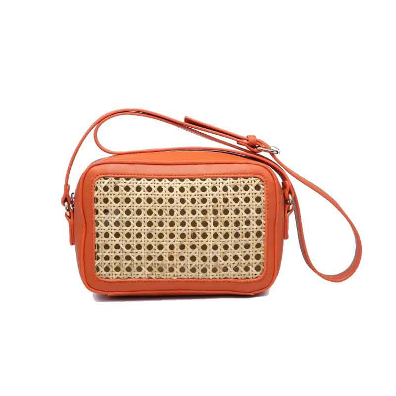 bolso de rafia modelo Génova color naranja