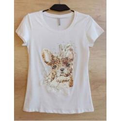 Camiseta perro blanca