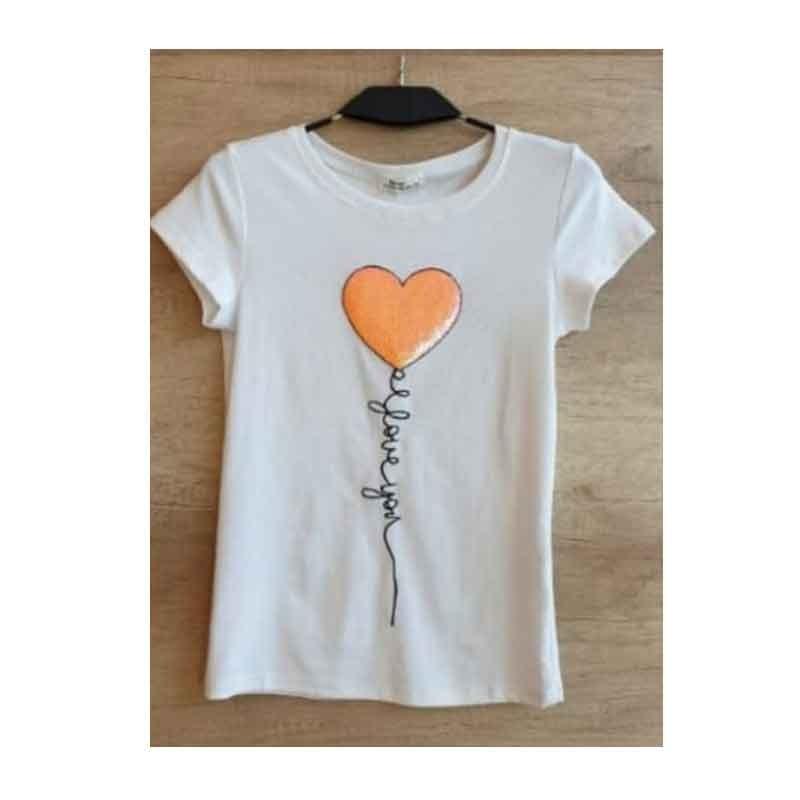 camiseta manga corta, algodón, corazón